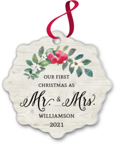 Mr Mrs First Christmas Ornament