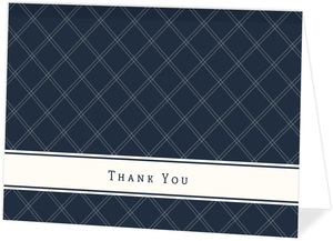 Navy Plaid Thank You Card