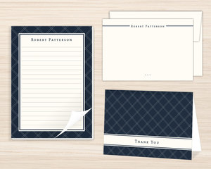 Navy Plaid Stationery Set