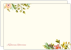 Watercolor Floral Frame Custom Notecard