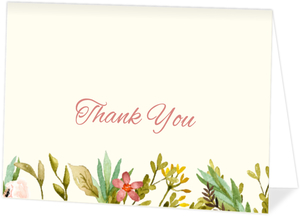 Watercolor Floral Frame Thank You Card