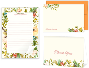 Watercolor Floral Frame Stationery Set