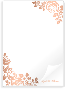 Rose Gold Faux Foil Floral Notepad