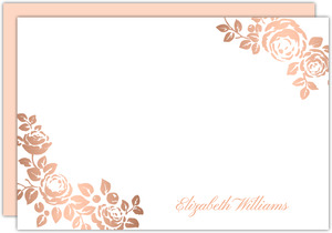 Rose Gold Faux Foil Floral Notecard