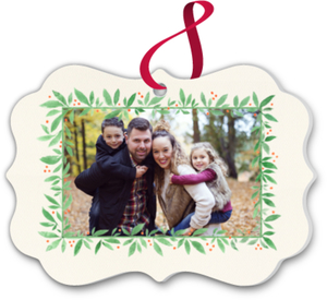 Watercolor Frame Christmas Ornament