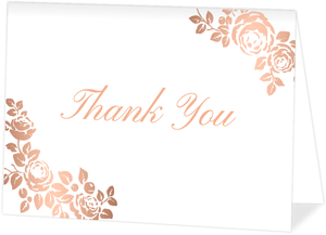 Rose Gold Faux Foil Floral Thank You Card