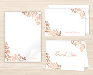 Rose Gold Faux Foil Floral Stationery Set