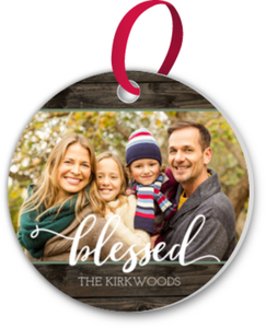Woodgrain Blessed Photo Ornament