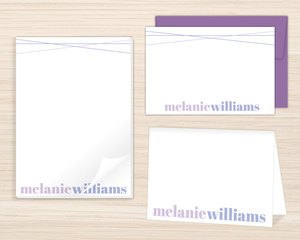 Simple Purple Name Stationery Set