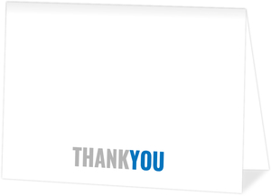 Modern Blue & Gray Thank You Card