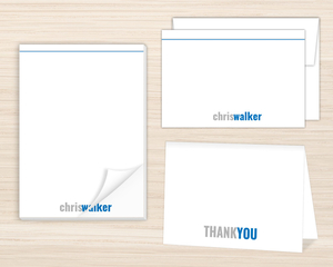 Modern Blue & Gray Stationery Set