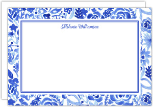 Blue Watercolor Floral Custom Notecard