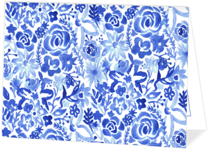 Blue Watercolor Floral Thank You Card