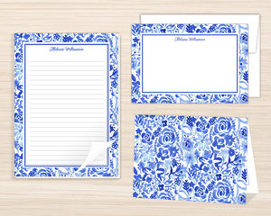 Blue Watercolor Floral Stationery Set