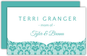 Turquoise Damask Personal Business Card