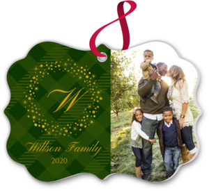 Elegant Gold & Green Family Ornament