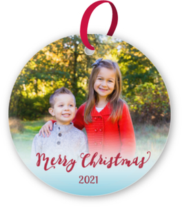 Merry Christmas Simple Photo Glass Ornament