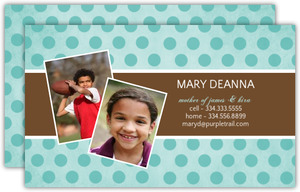 Brown And Turquoise Polka Dot Business Card