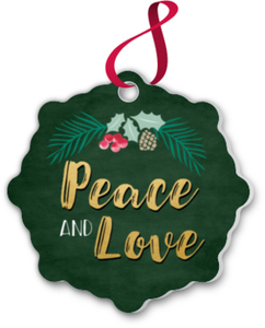 Festive Peace And Love Ornament