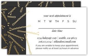Faux Gold Bobby Pins Appointment Card