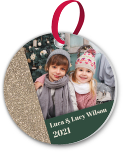 Modern Faux Glitter Decor Custom Ornament
