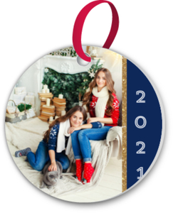 Royal Blue  Gold Custom Photo Ornament
