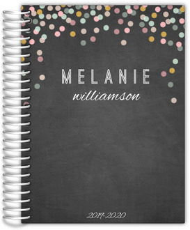 Chalkboard Colorful Confetti Monthly Planner 6x8