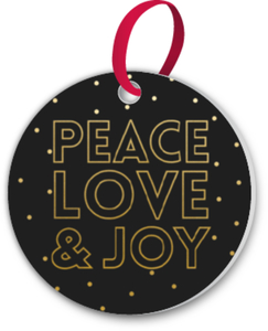 Peace Love & Joy Custom Ornament