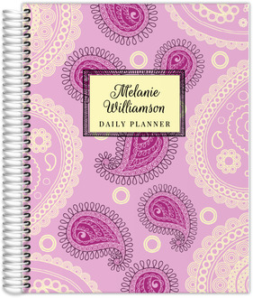 Pink Paisley Pattern Custom Daily Planner 8.5x11