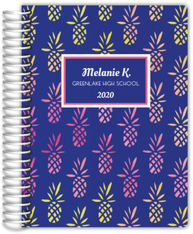 Pink and Yellow Pineapple Pattern Custom Daily Planner 6x8