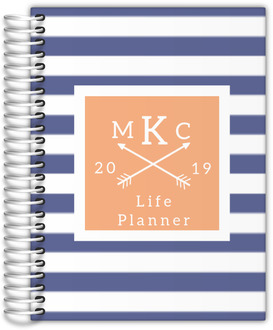 Modern Stripes Monogram Custom Daily Life Planner 6X8