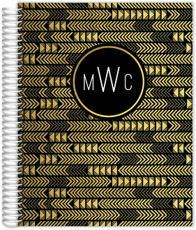 Faux Gold Foil Aztec Arrow Monogram Custom Daily Planner 8.5X11