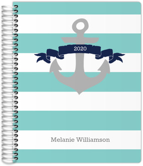Aqua and Navy Nautical Anchor Custom Daily Planner 8.5x11