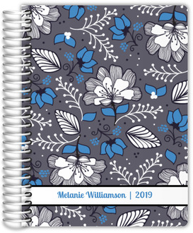 Gray & Blue Floral Pattern Custom Daily Planner 6x8