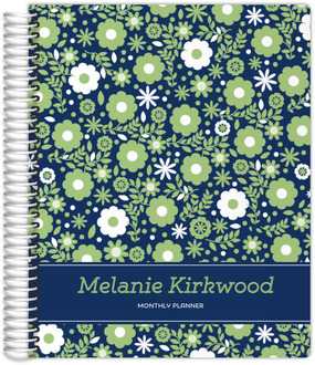 Navy Green Floral Photo Custom Daily Planner 8.5x11