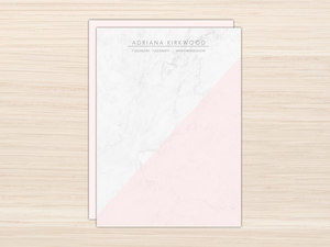 Modern Marble & Pink Letter Writing Paper