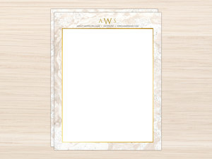 Sand Marble Monogram Letter Writing Paper