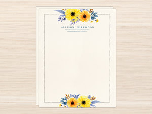 Yellow Watercolor Floral Letter Writing Paper