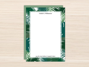 Green Palm Leaves Letter Writing Paper
