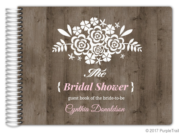 brown pink wood bridal shower guest book 11x85