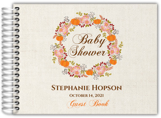 Fall Pumpkin Wreath Baby Shower Guest Book 8x6