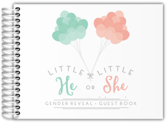 Mint & Peach Balloons Gender Reveal Baby Shower Guest Book 8x6