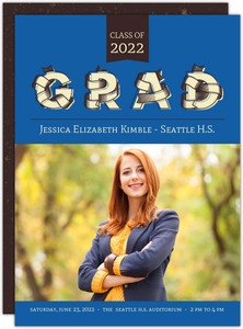 Retro BlueTypography Graduation Photo Announcement