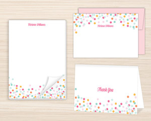 Colorful Confetti Stationery Set