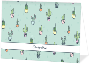 Cactus Pattern Custom Folded Card