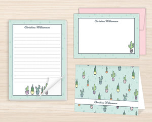 Cactus Pattern Stationery Set