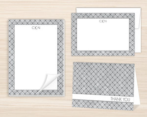 Gray Dotted Pattern Stationery Set
