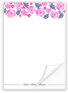 Pink Watercolor Floral Custom Notepad