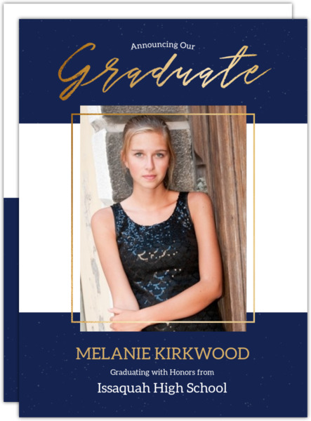 Modern Black & Faux Gold Graduation Photo Announcement