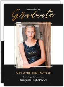 Modern Black  Faux Gold Graduation Photo Announcement